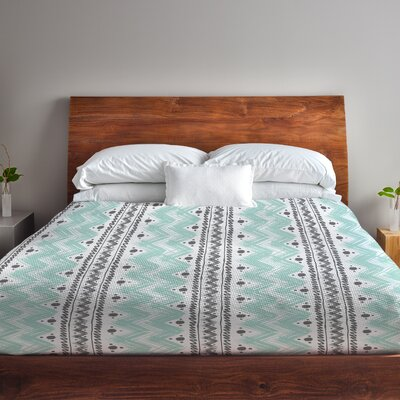 Anya Stripes and Dots Fleece Duvet Cover Size: Full / Queen