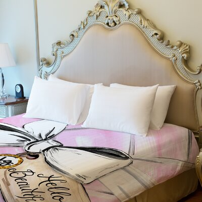 Hello Beautiful Quilted Bow Fleece Duvet Cover by Timree Size: King