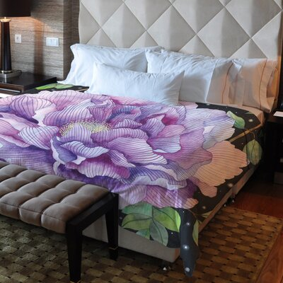 Midnight Bloom Fleece Duvet Cover Size: Full / Queen