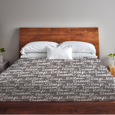 All Over Sleep Words Fleece Duvet Cover Size: Full / Queen