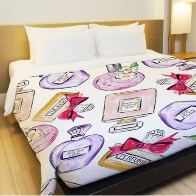 Hello Beautiful Perfume Fleece Duvet Cover Size: Full / Queen