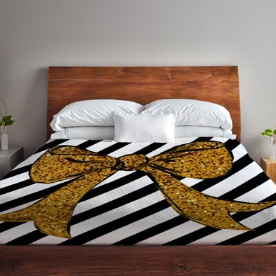 Gold Glitter Bow Fleece Duvet Cover Size: King