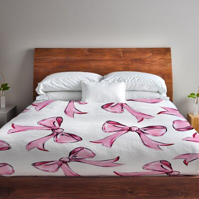 Hello Beautiful Bow Fleece Duvet Cover Size: Full / Queen, Color: Pink