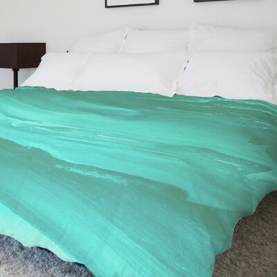 Slowly Drifting Fleece Duvet Cover Size: King, Color: Mint