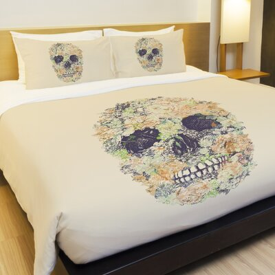 Muertos Skull Flowers 2 Fleece Duvet Cover Size: Full / Queen