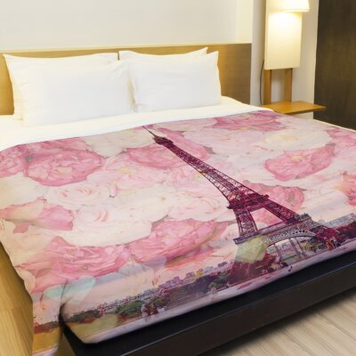 La Tour Eiffel Fleece Duvet Cover Size: Full / Queen