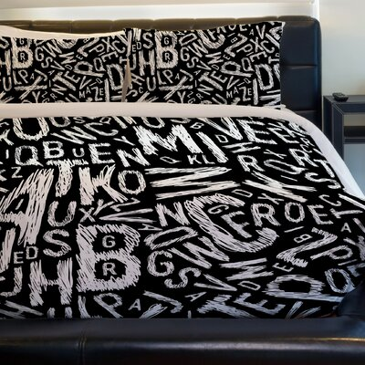Chalk Letters Lightweight Duvet Cover Size: King