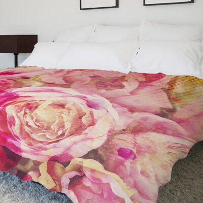 Peony Dreams Fleece Duvet Cover Size: Full / Queen