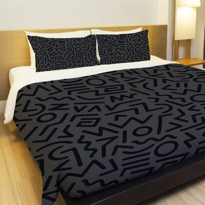 Line Jam Fleece Duvet Cover Size: Queen