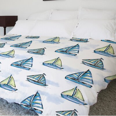 Boats Main Fleece Duvet Cover Size: King