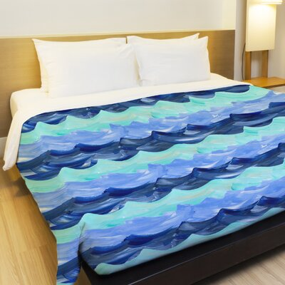 Water Waves Fleece Duvet Cover Size: King