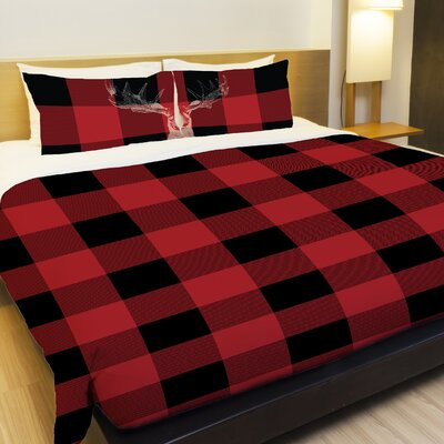 Buffalo Check Moose Fleece Duvet Cover Size: King