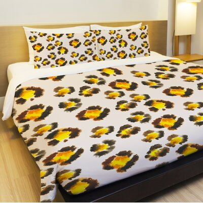 Leopard Spots Watercolor Lightweight Duvet Cover Size: King
