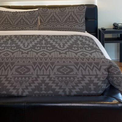 Tribal Zigzags Fleece Duvet Cover Size: King