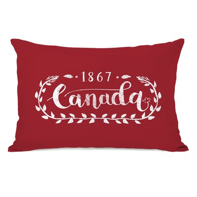 Canada Script Fleece Lumbar Pillow