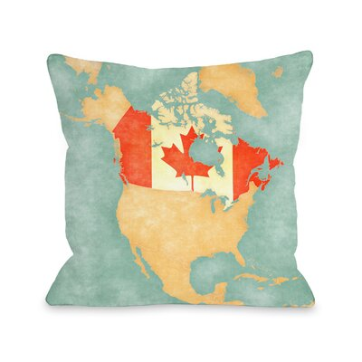 Canada Map Throw Pillow Size: 16 H x 16 W x 4 D