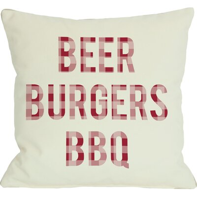 Beer Burgers BBQ Throw Pillow