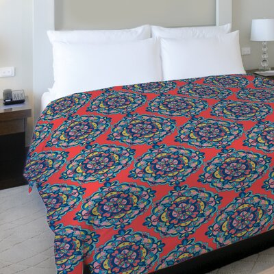 Mandalas Fleece Duvet Cover Size: Full / Queen, Color: Coral