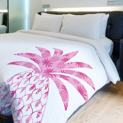 Pleasant Pineapple Fleece Duvet Cover Size: King
