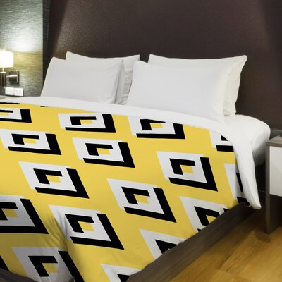 Lisa Geometric Fleece Duvet Cover Size: Full / Queen