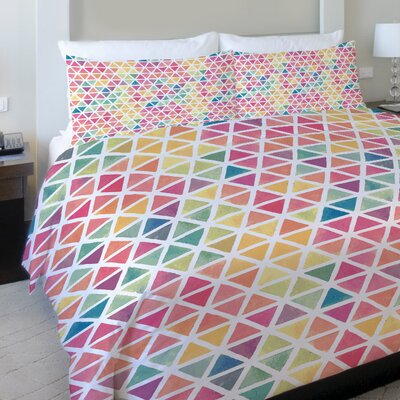 Watercolor Geometric Fleece Duvet Cover Size: King
