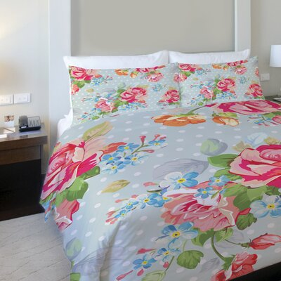 Oversized Cabbage Rose Fleece Duvet Cover Size: Full / Queen
