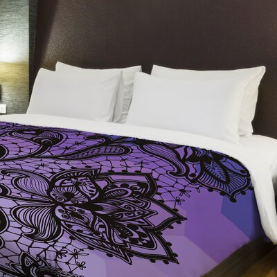 Lace Stripe Fleece Duvet Cover Size: King, Color: Purple