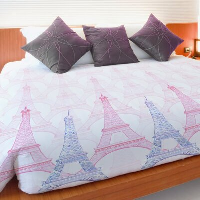 Eiffel Tower Fleece Duvet Cover Size: Full / Queen