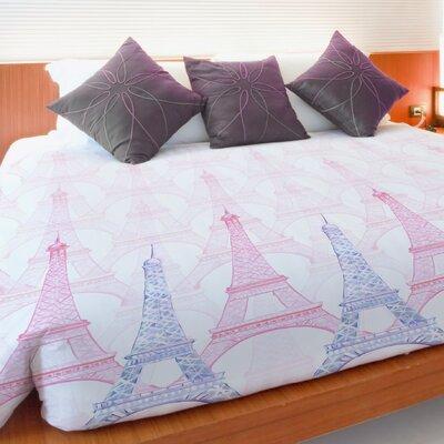 Eiffel Tower Fleece Duvet Cover Size: King