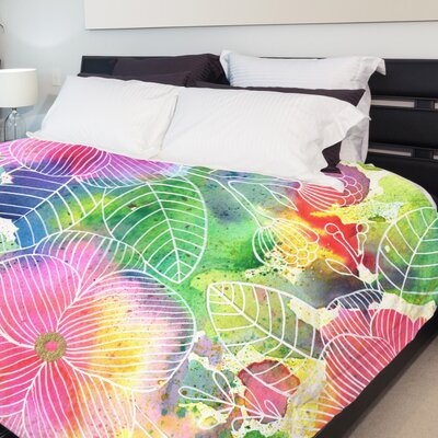 Rainbow Splatter Flower Fleece Duvet Cover Size: King