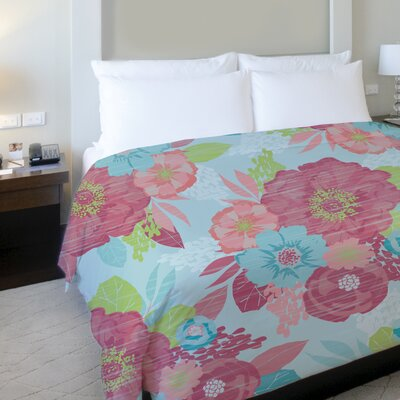 Romantic Florals Fleece Duvet Cover Size: King