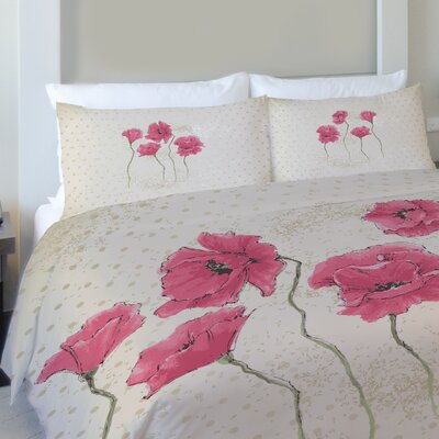 Kathy Flowers Fleece Duvet Cover Size: King