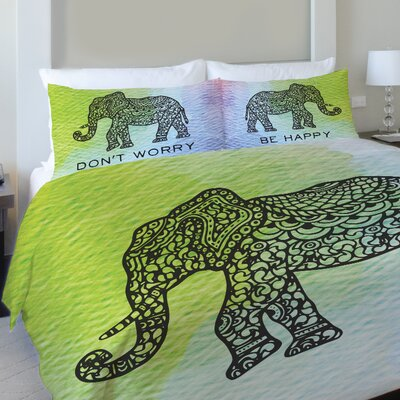 Dont Worry Elephant Fleece Duvet Cover Size: Full / Queen