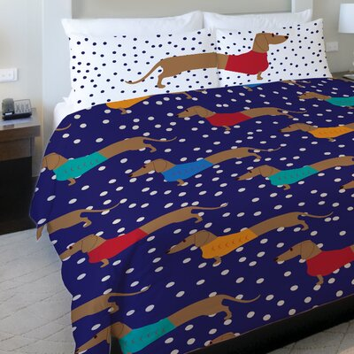 Dachshund Dots Fleece Duvet Cover Size: Full / Queen