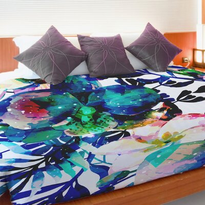 Midnight Blooms Fleece Duvet Cover Size: Full / Queen
