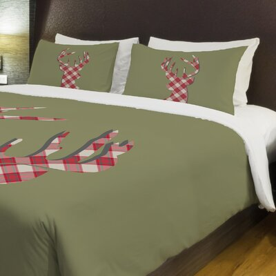 Deer Silhouette Plaid Fleece Duvet Cover Size: King