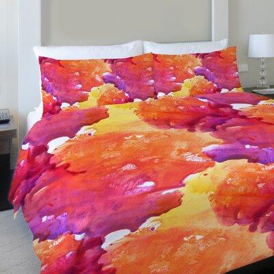 Neon Sunset Fleece Duvet Cover Size: King