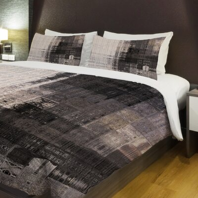 Tiled Monochrome Fleece Duvet Cover Size: King