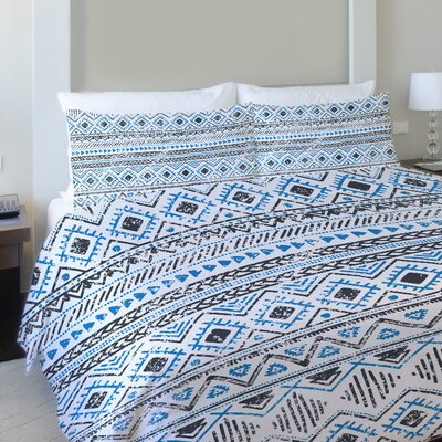 Faded Tribal Print Lightweight Duvet Cover Size: Twin