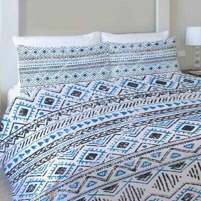 Faded Tribal Print Fleece Duvet Cover Size: Queen