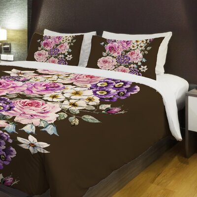 Vintage Flower Stripe Fleece Duvet Cover Size: King