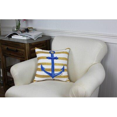 Ebert Gold/Blue Outdoor Throw Pillow Size: 16 x 16