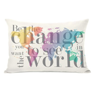 Be the Change Map Lumbar Pillow