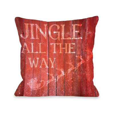 Jingle All the Way Sleigh Wood Throw Pillow Size: 18