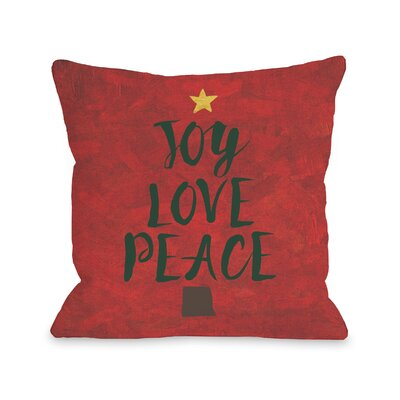Joy Love Peace Throw Pillow Size: 16 H x 16 W