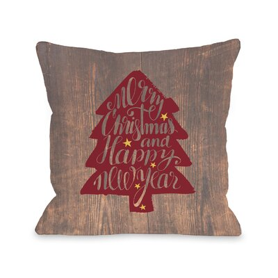 Christmas Tree Wood Throw Pillow Size: 18 H x 18 W