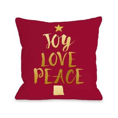 Joy Love Peace Tree Throw Pillow Size: 18 H x 18 W