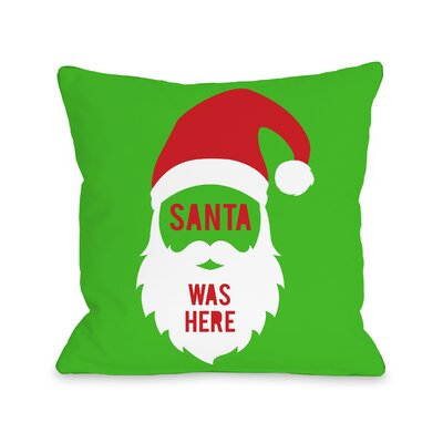 Santa Was Here Mod Throw Pillow Size: 18 H x 18 W