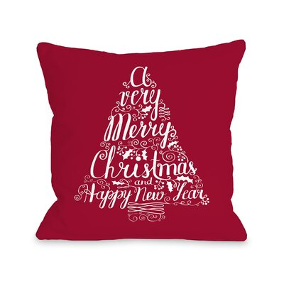 Typography Tree Throw Pillow Size: 18 H x 18 W