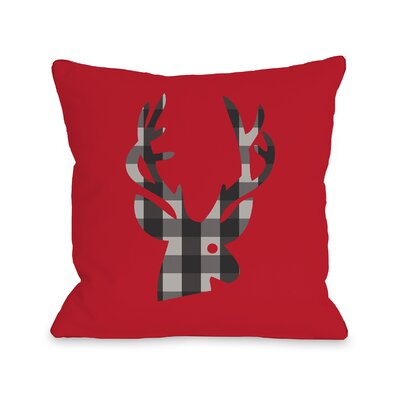 Plaid Deer Throw Pillow Size: 16 H x 16 W
